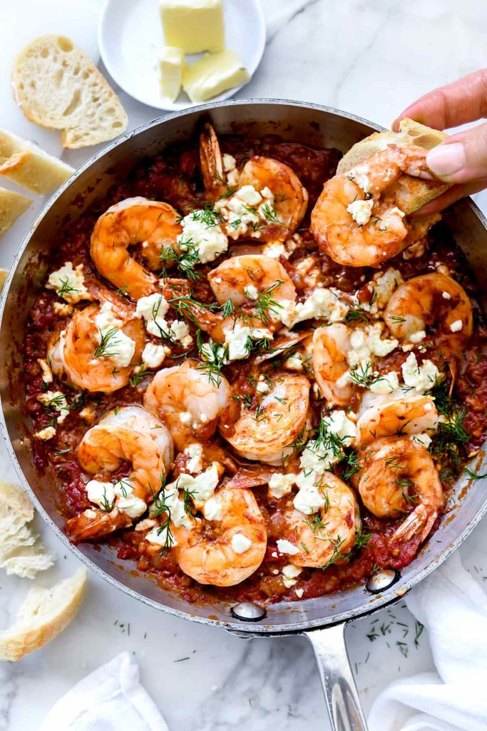 Saucy Baked Greek Shrimp | foodiecrush.com