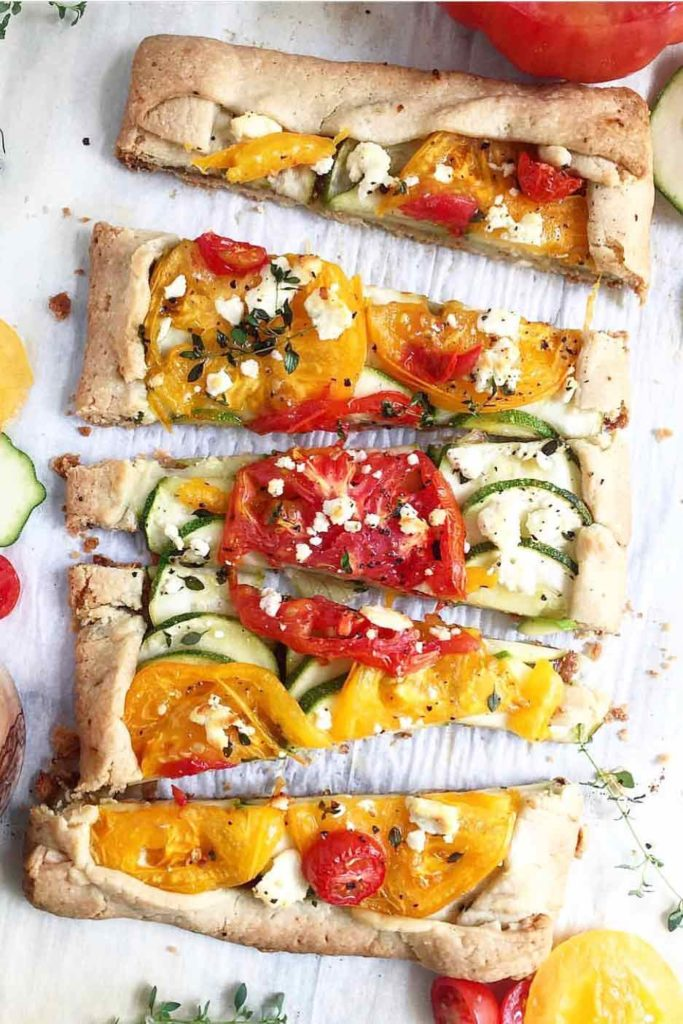 Tomato Zucchini Tart with Feta Cheese | foodiecrush.com