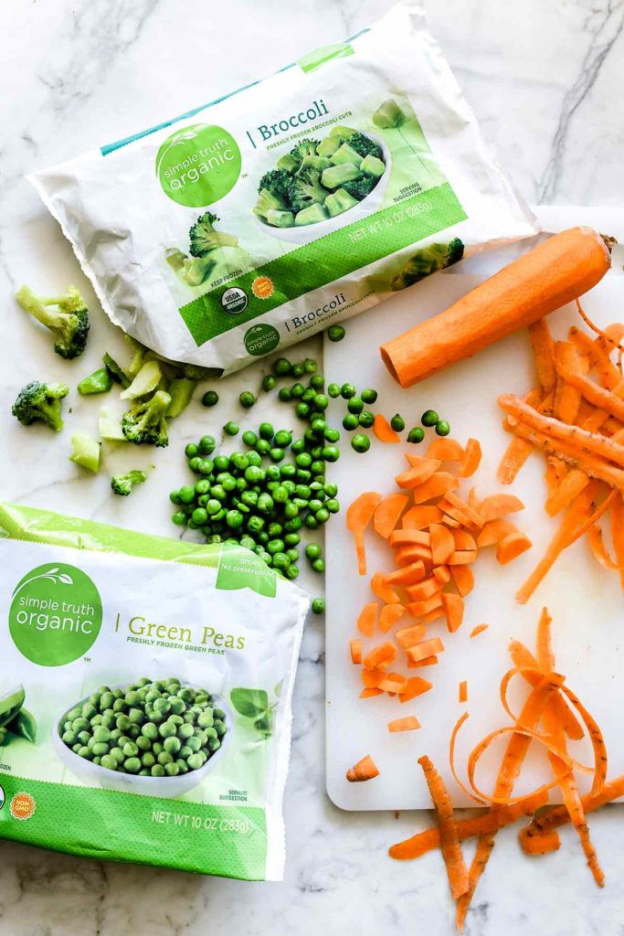 Frozen peas, carrots and broccoli for chicken and rice casserole