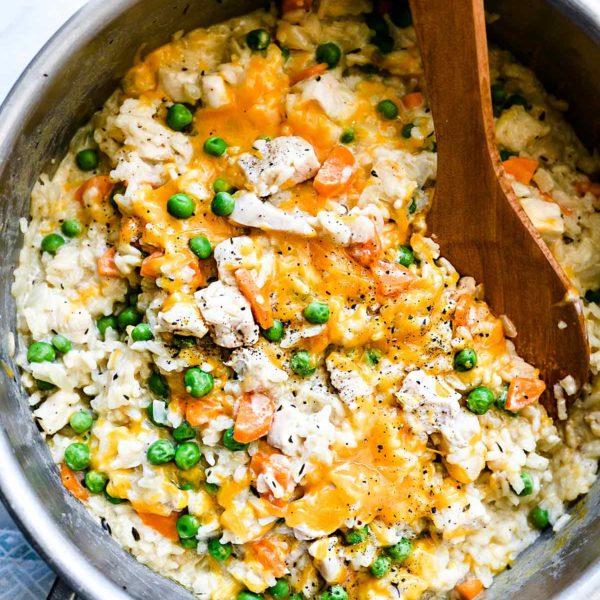 One Pot Chicken and Rice Casserole | foodiecrush.com #chicken #casserole #rice #white #recipes #healthy