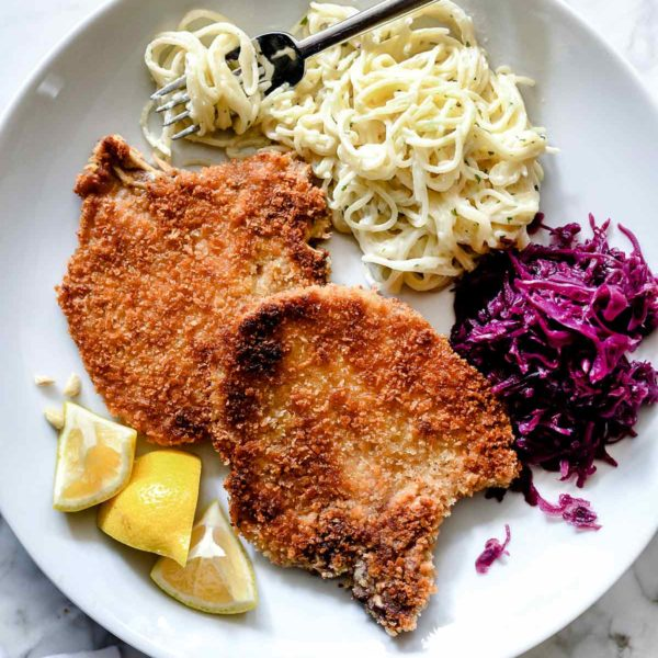 Easy German Schnitzel | foodiecrush.com #schnitzel #german #pork #porkchops
