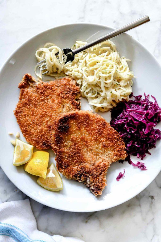 Easy German Schnitzel | foodiecrush.com #schnitzel #german #pork #porkchops