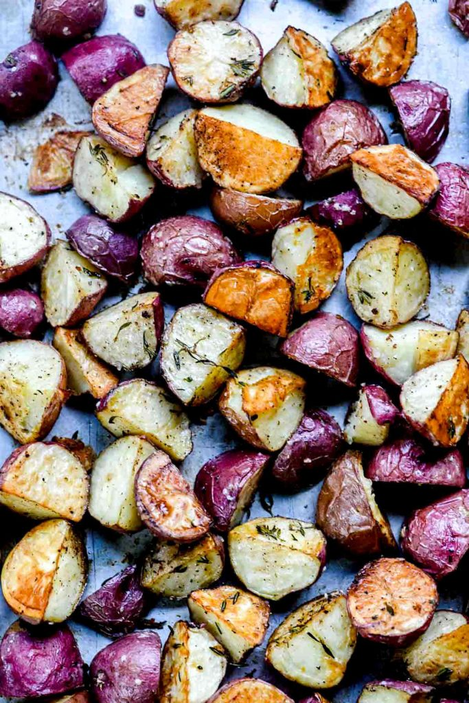 oven roasted potatoes on baking sheet