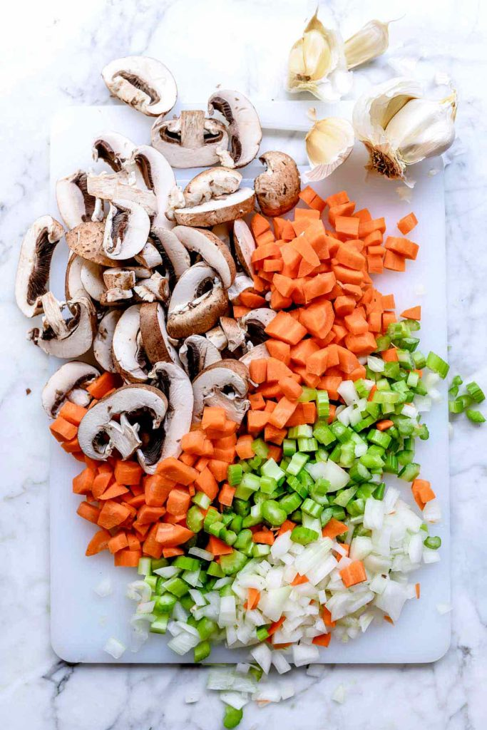 Chopped aromatics mushroom, carrot, celery, onion | foodierush.com
