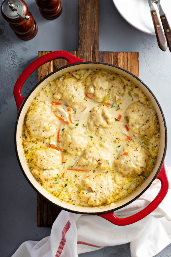 Homemade Chicken and Dumplings from The Novice Chef on foodiecrush.com
