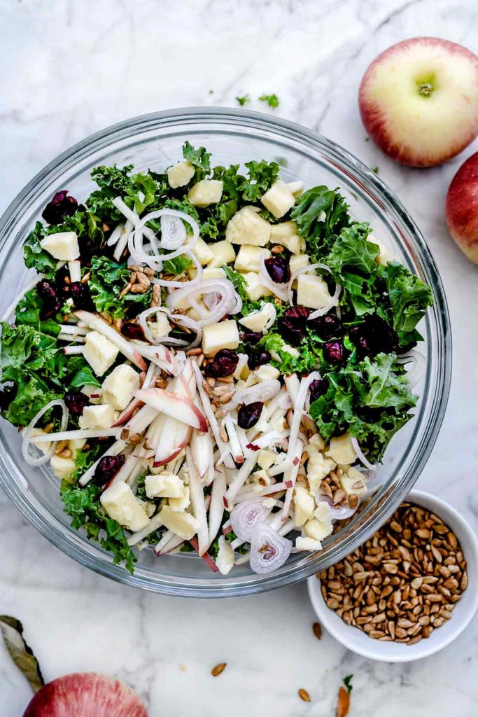 Kale Salad with Cranberries, Apples and Cheddar Cheese | foodiecrush.com #kale #salad #healthy #easy #dressing #recipes