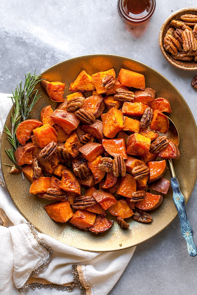 Maple Roasted Sweet Potatoes from Two Peas and Their Pod on foodiecrush.com