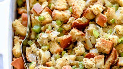 Easy Classic Stuffing Recipe   foodiecrush.com #stuffing #recipe #homemade #thanksgiving #easy