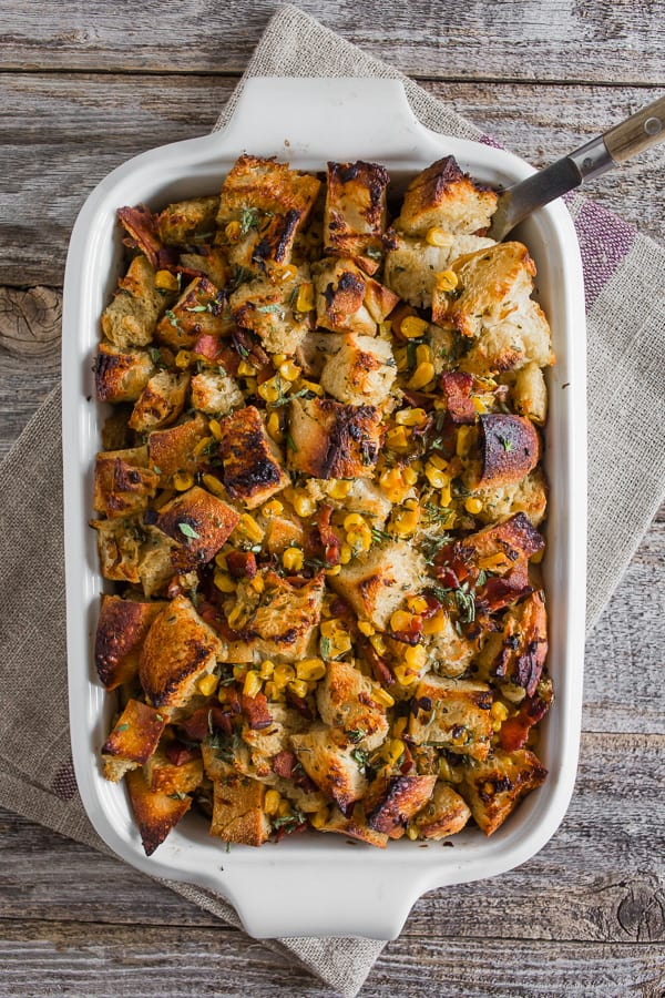 Bacon and Corn Sourdough Stuffing from Nutmeg Nanny on foodiecrush.com