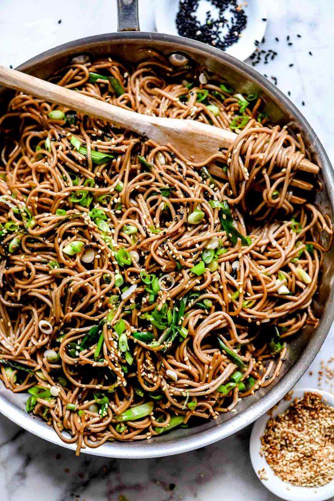 Sesame Soba Noodles | foodiecrush.com #soba #noodles #sesame #recipe #healthy