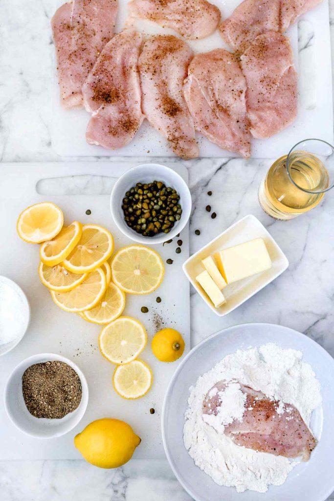 Chicken Piccata Recipe Ingredients foodiecrush.com #healthy #easy #lemon #recipes #chicken