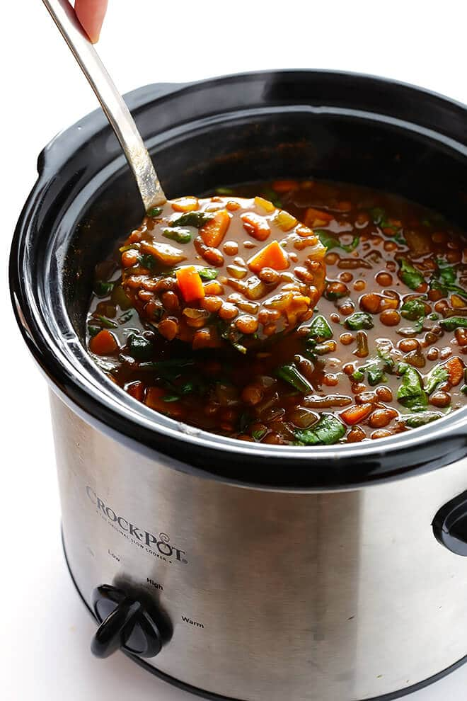 Slow Cooker Curried Lentil Soup from Gimme Some Oven on foodiecrush.com