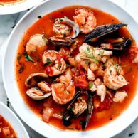 Ina Garten's Cioppino Recipe | foodiecrush.com #easy #authentic #cioppino #Sanfrancisco #tomato #stew #seafood