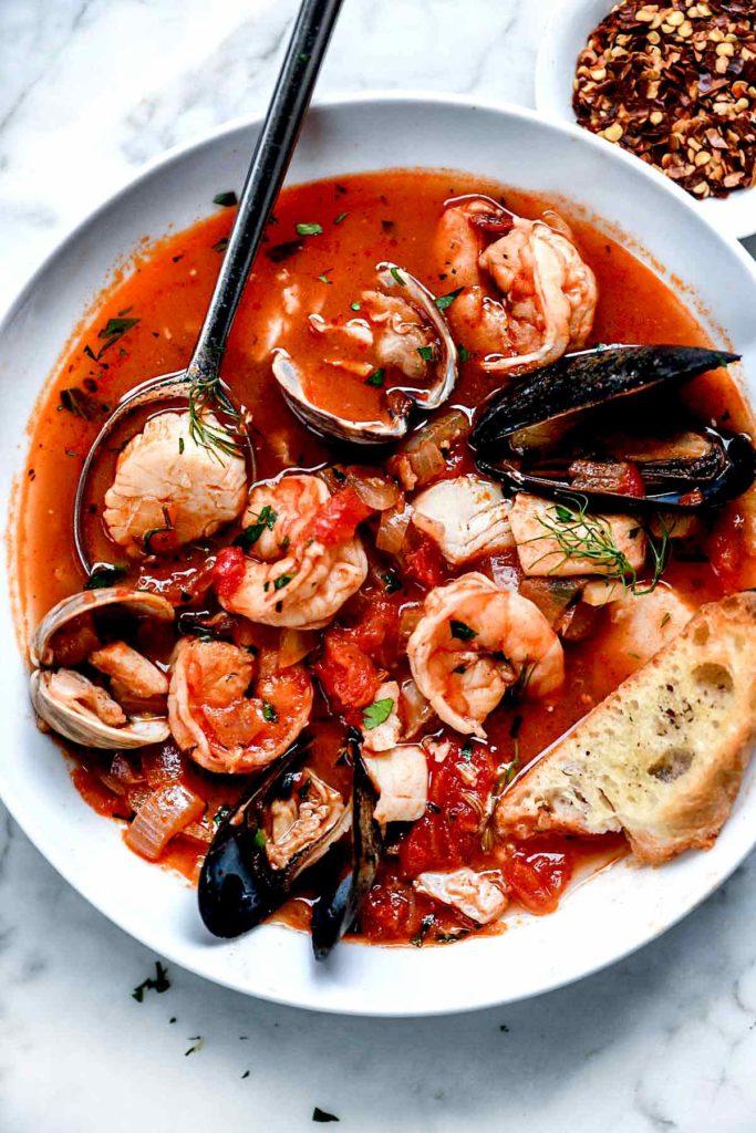 Ina Garten's Cioppino Recipe | foodiecrush.com #easy #authentic #cioppino #Sanfrancisco #tomato #stew #seafood