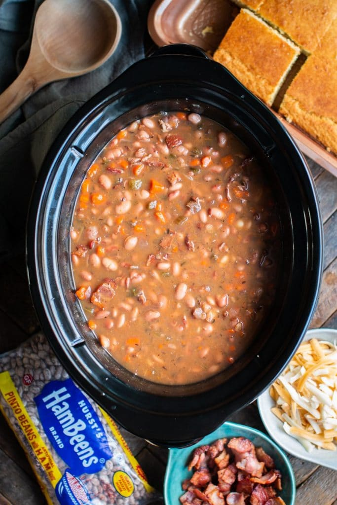 Slow Cooker Pinto Bean and Bacon Soup from The Magical Slow Cooker from foodiecrush.com
