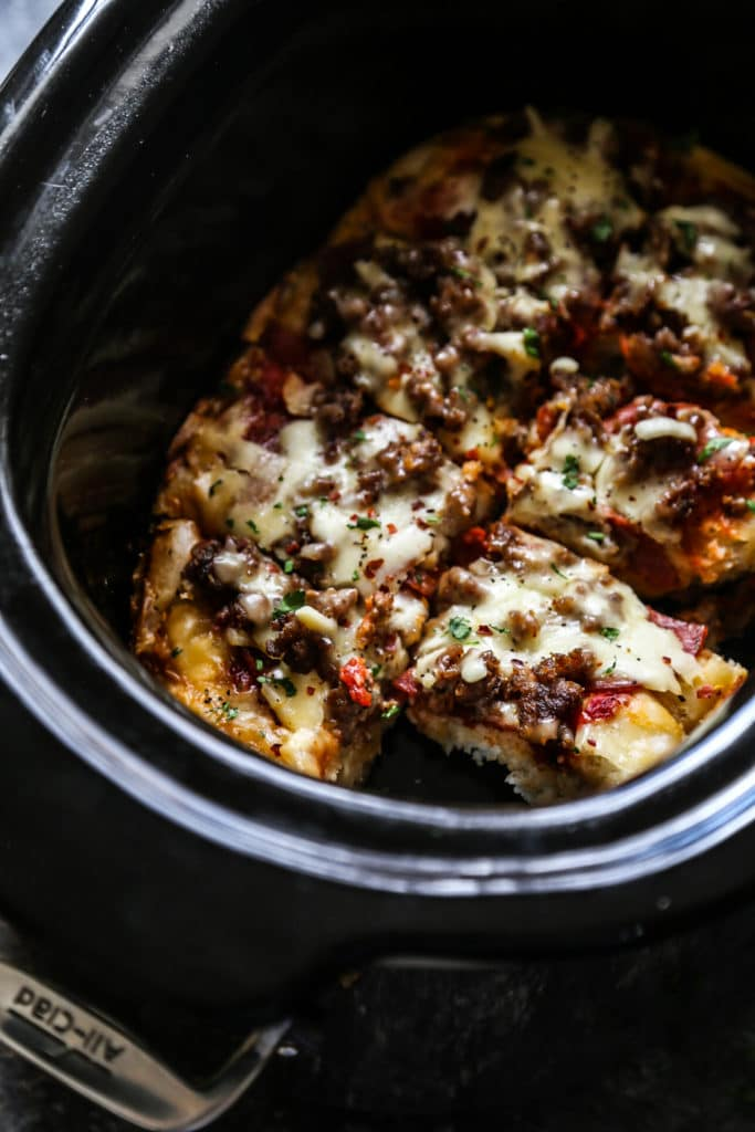 Slow Cooker Meat Lovers Pizza from Climbing Grier Mountain on foodiecrush.com