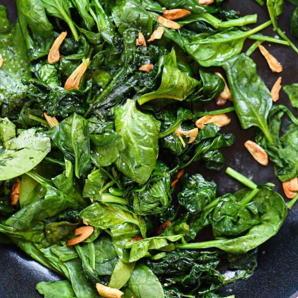 Sautéed Spinach with Garlic foodiecrush.com #recipes #sidedish #saute #spinach #garlic #healthy