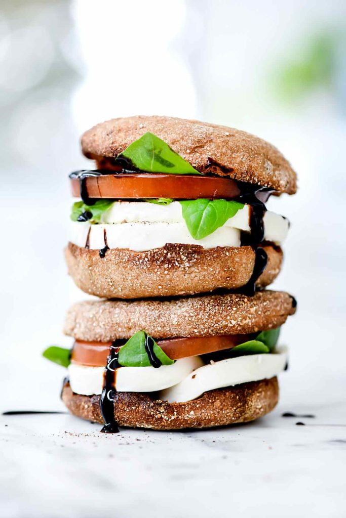 Healthy Caprese Breakfast Sandwiches | foodiecrush.com #healthy #breakfast #sandwich #caprese #englishmuffin