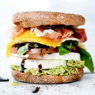 Healthy Caprese Breakfast Sandwiches | foodiecrush.com #healthy #breakfast #sandwich #caprese #englishmuffin