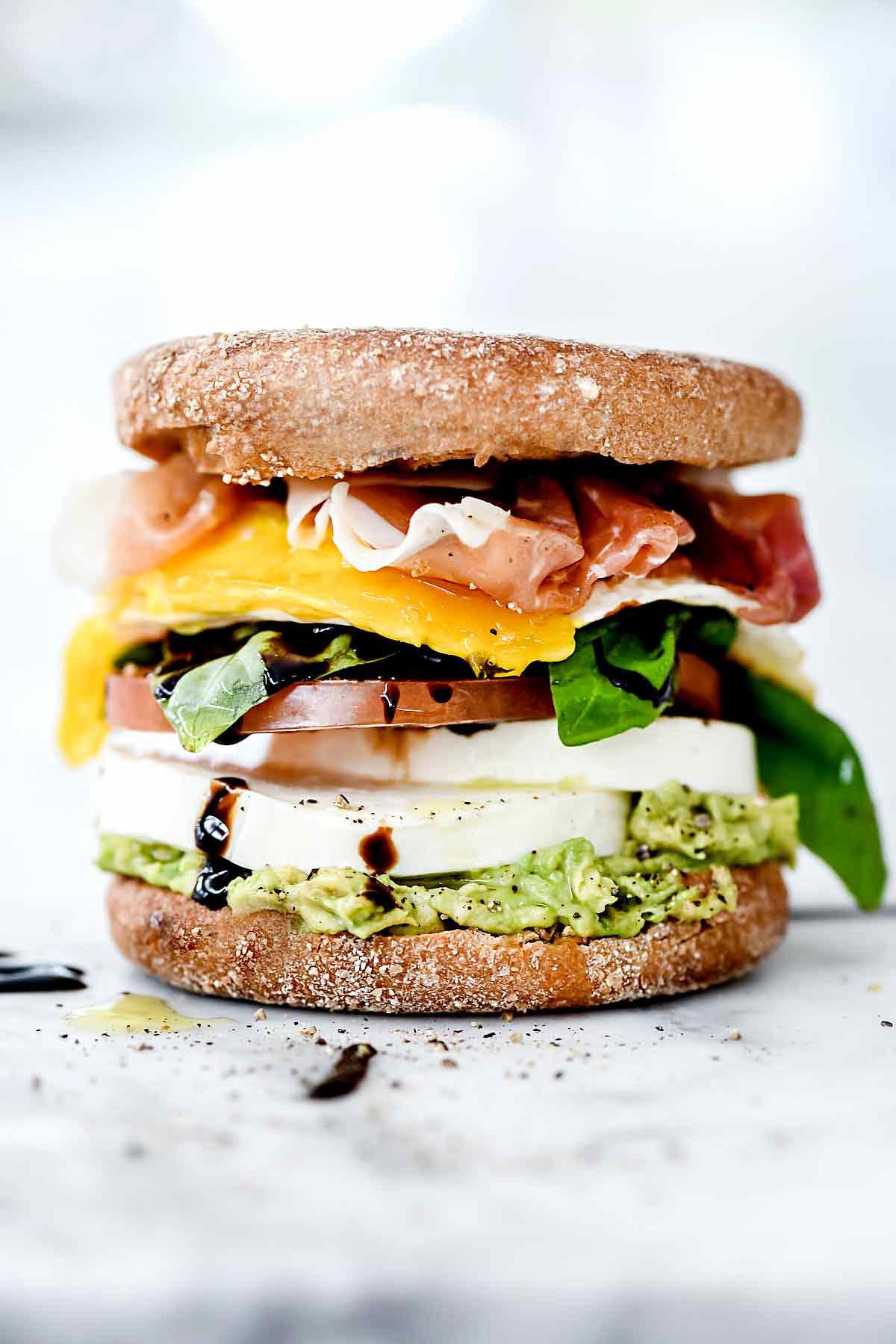 Healthy Caprese Breakfast Sandwiches Foocrush Sandwich