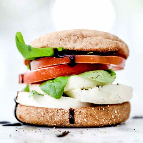 Healthy Caprese Breakfast Sandwiches   foodiecrush.com #healthy #breakfast #sandwich #caprese #englishmuffin