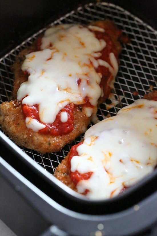 Chicken Parmesan in the Air Fryer from Skinnytaste on foodiecrush.com