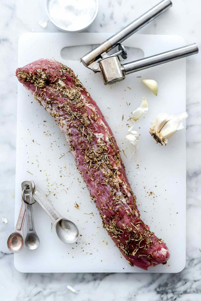 Garlic and Herb Rub Pork Tenderloin Dinner | foodiecrush.com #pork #tenderloin #herb #rub #oven #recipes #baked