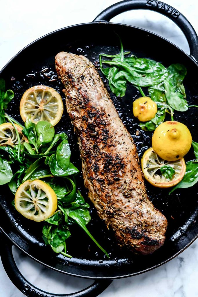 Garlic and Herb Rub Pork Tenderloin Recipe | foodiecrush.com #pork #tenderloin #herb #rub #oven #recipes #baked