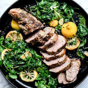 Garlic and Herb Rub Pork Tenderloin Dinner | foodiecrush.com #pork #tenderloin #herb #rub #oven #recipes #baked