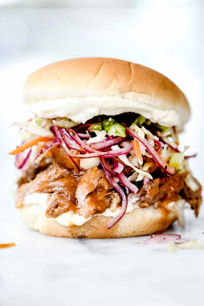 Pulled Pork Sandwich | foodiecrush.com #slowcooker #crockpot #recipes #withcoleslaw #sandwich #pulledpork