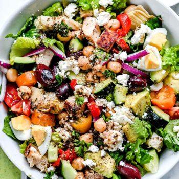 Greek Cobb Salad | foodiecrush.com #greek #cobb #salad