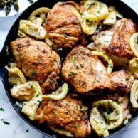 Lemon Chicken Thighs with Artichokes | foodiecrush.com #chicken #dinner #thighs #recipes #artichoke #healthy #easy #skillet
