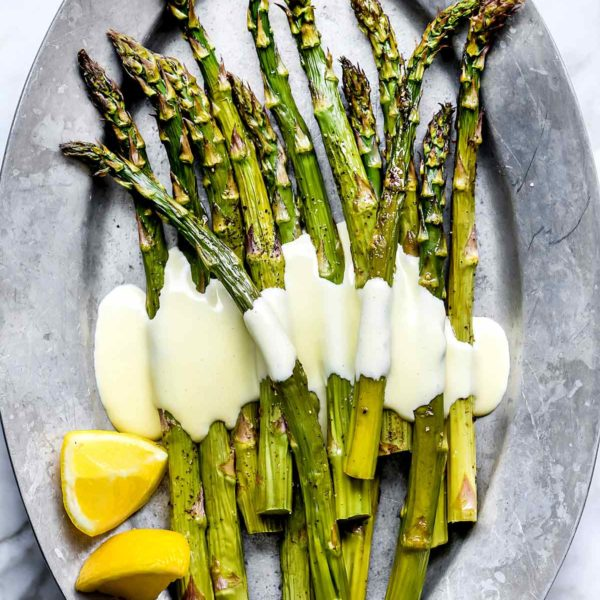 Roasted Asparagus with Blender Hollandaise | foodiecrush.com #hollandaise #egg #asparagus