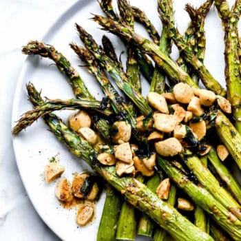 Roasted Asparagus with Browned Butter and Almonds | foodiecrush.com #asparagus #side #recipe #healthy