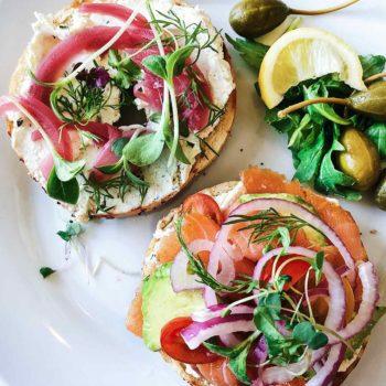 Bagels and Lox DIY Brunch Bar foodiecrush.com #bagels #lox #brunch #ideas #party #bridalshower #breakfast #buildyourown