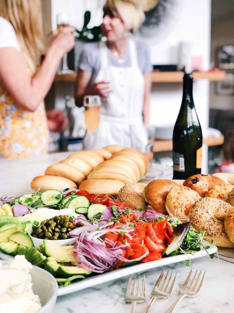 Bagels and Lox DIY Brunch Bar foodiecrush.com #bagels #lox #brunch #ideas #party #bridalshower #breakfast #buildyourown