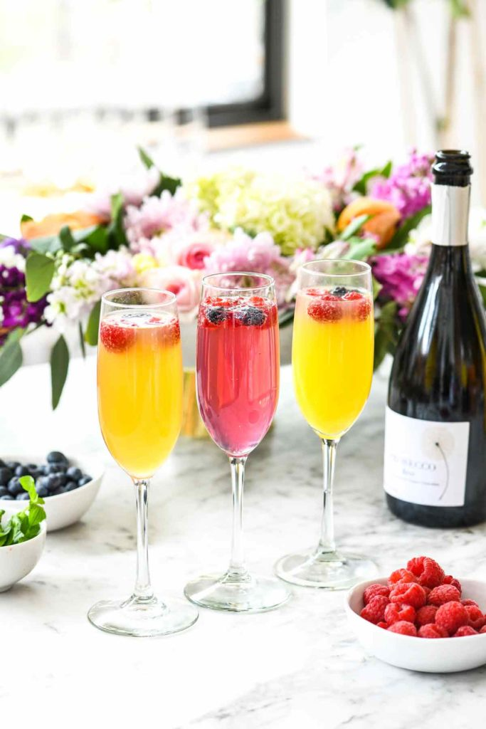 How to Make a DIY Mimosa Bar | foodiecrush.com #mimosa #bar #brunch #champagne