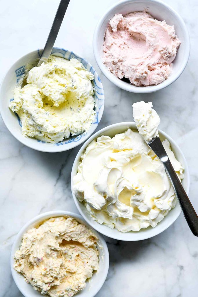 Plain and Flavored Cream Cheese foodiecrush.com