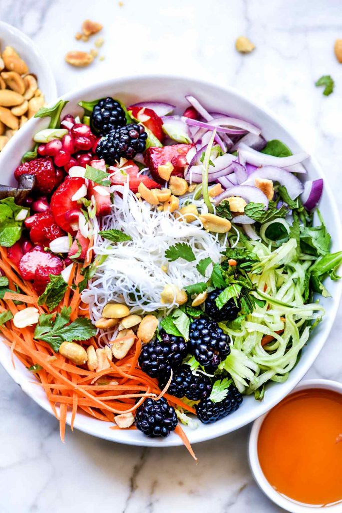 Vietnamese Berry Noodle Salad Bowl | foodiecrush.com #vietnamese #salad #bun #berries #healthy #recipes