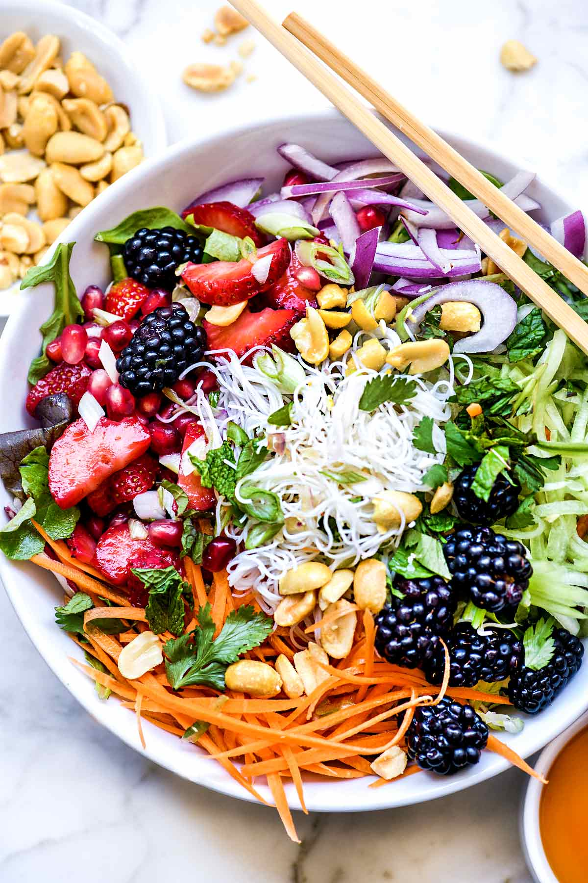 Vietnamese Rice Noodle Salad Bowls With Berries Foodiecrush