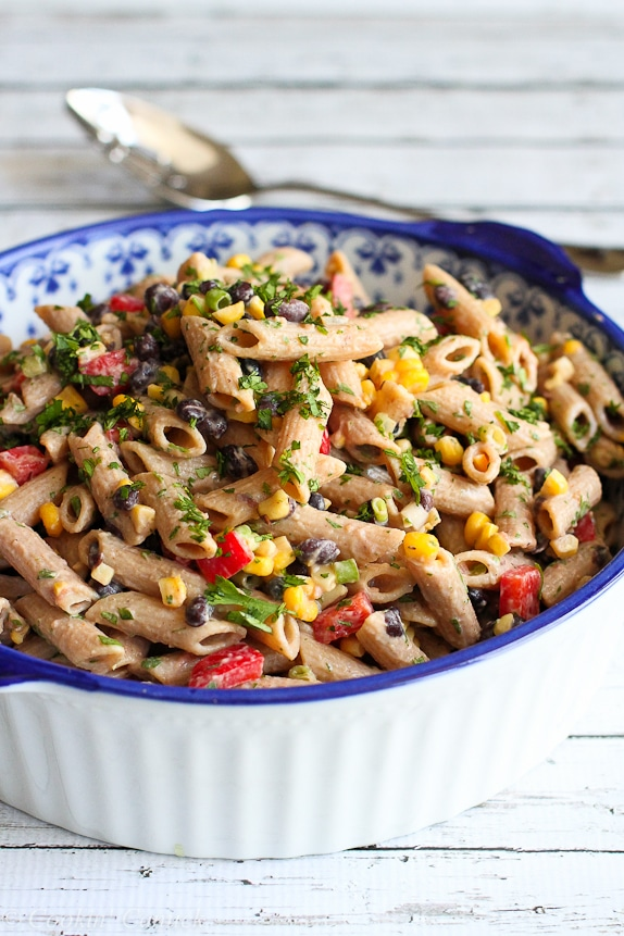 Southwestern Pasta Salad with Yogurt Salad Dressing from Cookin Canuck on foodiecrush.com