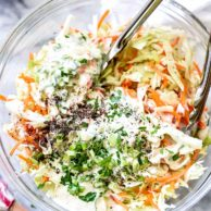 Coleslaw Dressing | foodiecrush.com #dresssing #coleslaw #salad #recipes