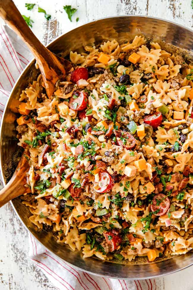 Cowboy Pasta Salad from Carlsbad Cravings on foodiecrush.com