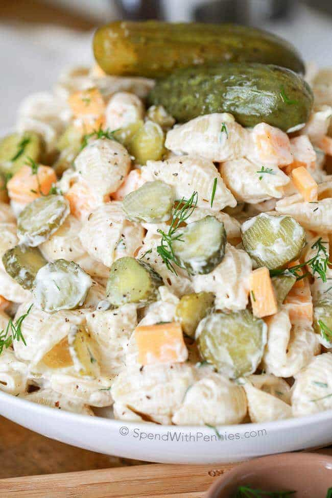 Dill Pickle Pasta Salad from Spend With Pennies on foodiecrush.com