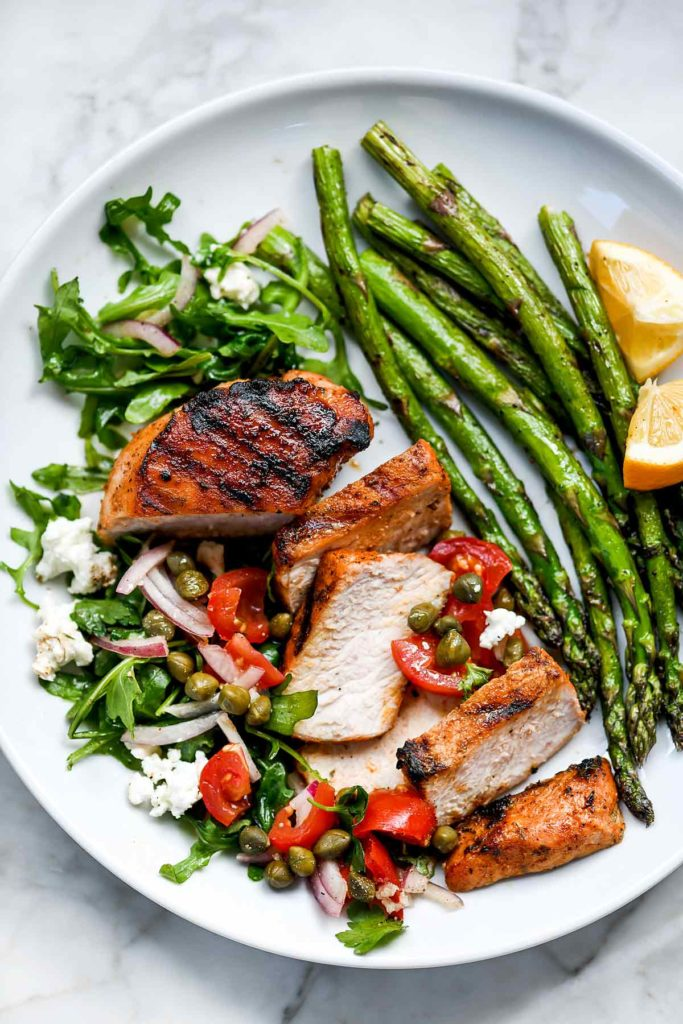Grilled Pork Chops with Tomato Salad   foodiecrush.com #grilled #porkchops #recipes #dinner