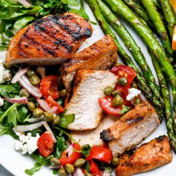 Mediterranean Grilled Pork Chops with Tomato Salad | foodiecrush.com #grilled #porkchops #recipes #dinner