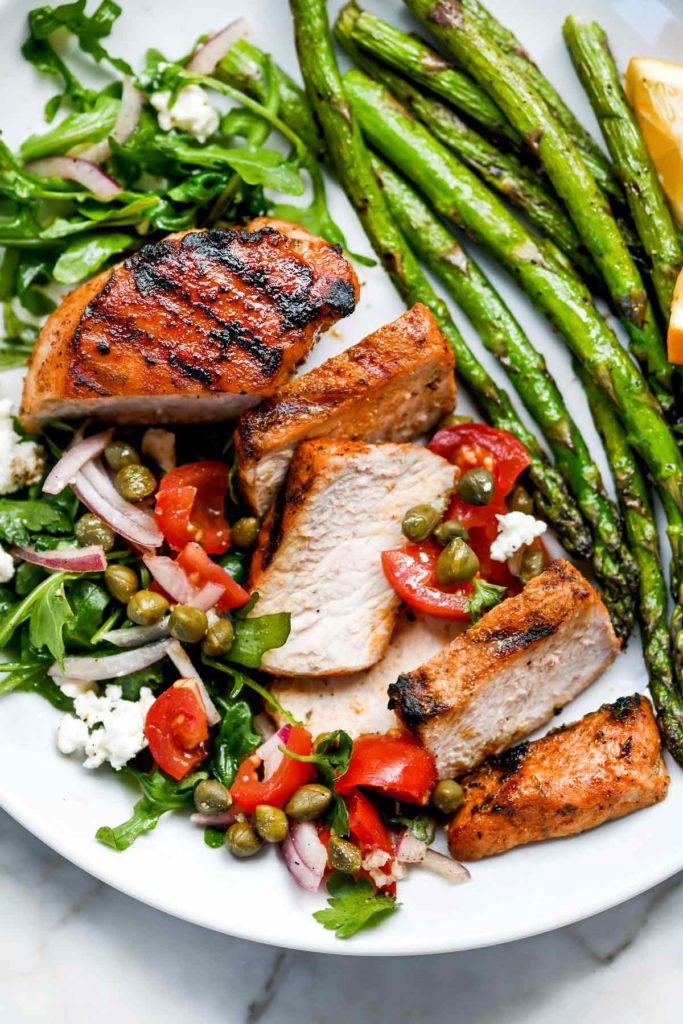 Mediterranean Grilled Pork Chops With Tomato Salad Foodiecrush Com