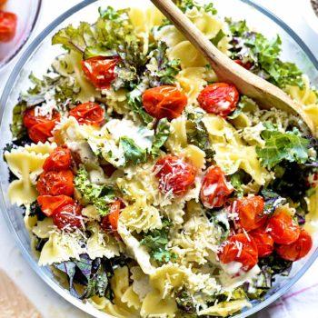 Easy Kale Caesar Pasta Salad | foodiecrush.com #pasta #salad #easy #recipes