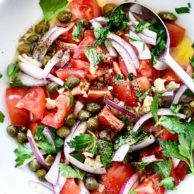 Mediterranean Tomato Salad | foodiecrush.com #recipes #tomato #salad #parsley #capers