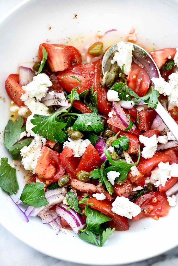 Mediterranean Tomato Salad | foodiecrush.com #recipes #tomato #salad #parsley #capers